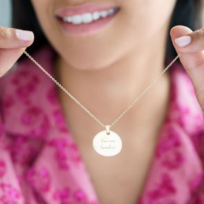gold plated organic disc charm necklace with personalised message