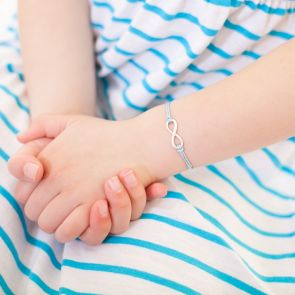 Kids Silk Bracelet with Sterling Silver Infinity Charm