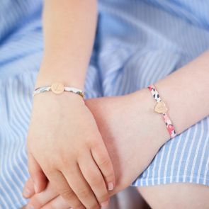 Mini Liberty Print Charm Personalised Sterling Silver Kids Bracelet