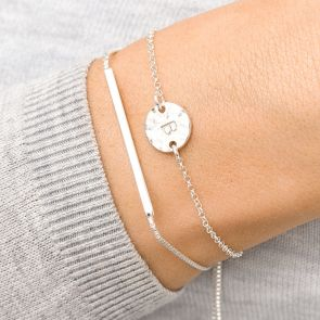 Hammered Disc Bracelet with bar slider charm personalised with handstamped initial
