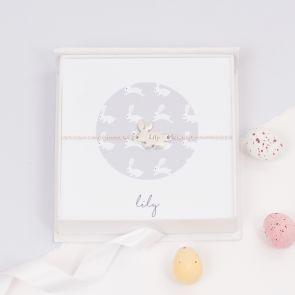 Personalised Sterling Silver Bunny Bracelet Gift Set