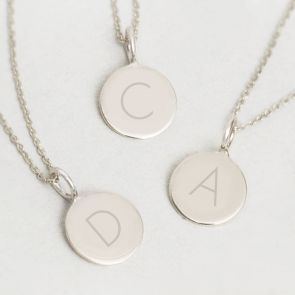 Contemporary Initial Sterling Silver Pendant Necklace