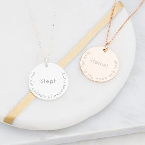 Silver and Rose Gold Disc Necklace Personalised with Quote and Name
