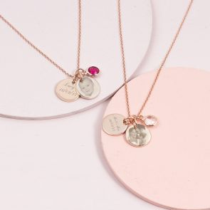 Personalised Photo Double Disc Birthstone Necklace