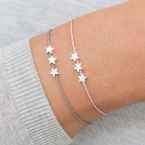 Personalised Silver Triple Star Silk Wish Bracelet in Both Grey and Pink