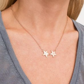 Rose Gold Star Charm Necklace Personalised with Classic Initials