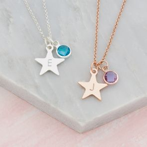 Rose Gold and Silver Handstamped star charm  with birhstone