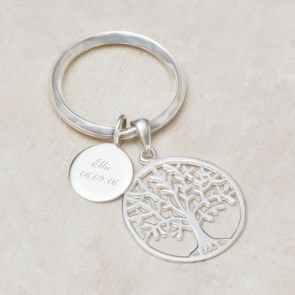Asta Sterling Silver Tree Of Life Personalised Keyring