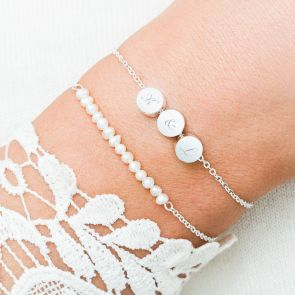 Gabrielle Personalised Pearl And Disc Bracelet Set