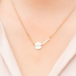 Mackenzie Personalised Pearl Disc Necklace