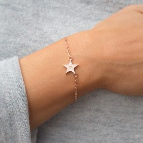 Personalised Hammered Initial Star Bracelet
