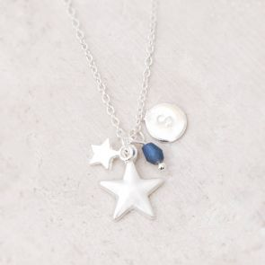 Silver Star Necklace with Personalised Initial and Birthstone Charm