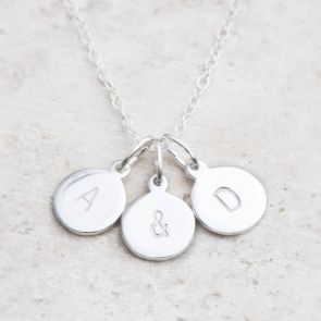Hand Stamped Silver Personalised Charm Necklace