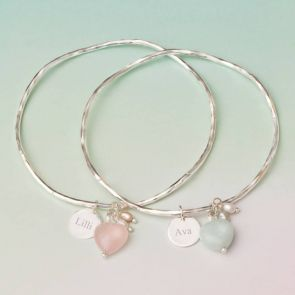 Maja Silver Bangle with Rose Quartz and Amazonite Hearts