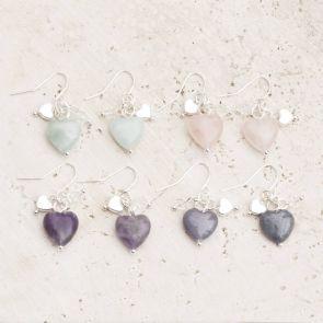 Maya Stone Heart Silver Earrings