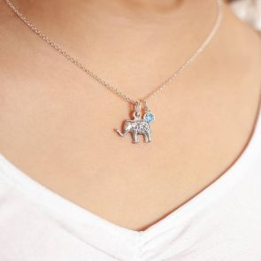 Mini Personalised Sterling Elephant Charm Necklace