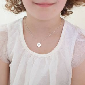 Mini Bloom Sterling Silver Illustration Disc Necklace