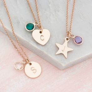 Handstamped Shape Charm Necklace with Birthstone