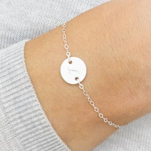 Personalised Sterling Silver Initial Disc Bracelet