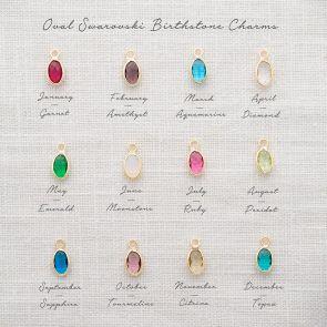 oval swarovski crystal birthstone charms key