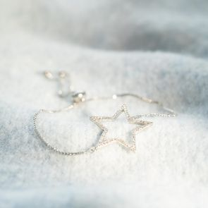 Pave Open Star Personalised Slider Bracelet