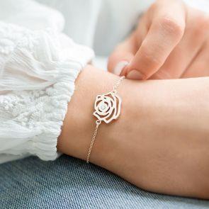 Birth Flower Charm Bracelet with Integrated Swarovski Crystal Birthstone