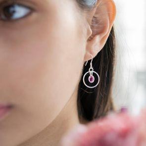 Personalised Drop Earrings with Hoop and Suspended Birthstone