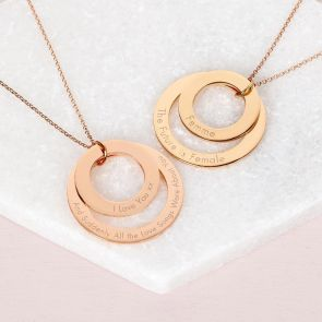 Rose Gold Plated Sterling Silver and Gold Plated Sterling Silver Eternal Ring Necklace Personalised with custom Message