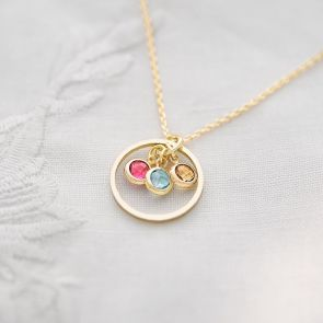 Personalised Halo Charm and Birthstone Necklace