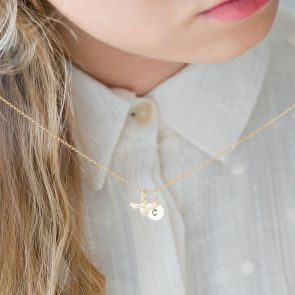 Rose Gold Plated Bee Charm Necklace with Handstamped Initial charm