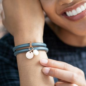 leather wrap bracelet with name disc and pearl charm