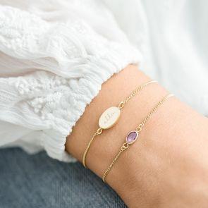 Personalised Oval Birthstone Friendship Bracelet Set