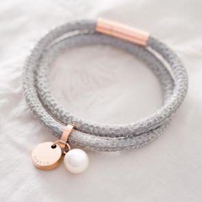 Personalised Rose Gold Leather Wrap Name Bracelet