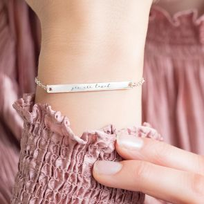 Personalised Sterling Silver Handwriting Bar Bracelet