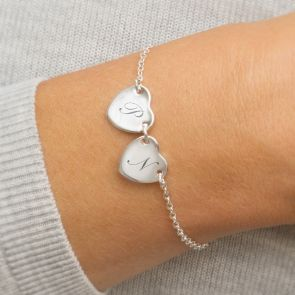 Silver Personalised Initial Double Heart Bracelet