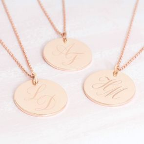 Personalised Initial Monogram Disc Necklace