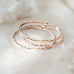 Personalised Rose Gold Bangle Customised with Message
