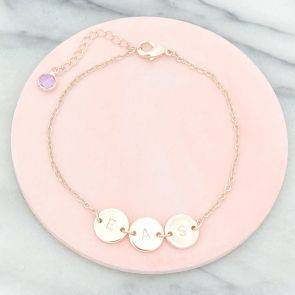 Personalised Triple Letter Disc Bracelet