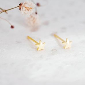 Pure Gold Star Stud Personalised Earrings