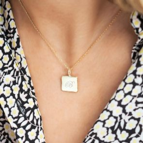 Gold Plated Sterling Silver Square Pendant Necklace Personalised with Regency Script Name