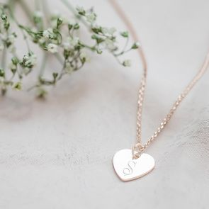 "Rose Gold Heart Pendant Charm Personalised with Script Initial ""S"""