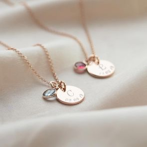 Rose Gold Necklace Chain with Disc Charm Personalised with initial and Date and Birthstone charm