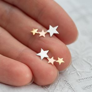 Mixed Metal Sterling Silver Triple Star Earrings