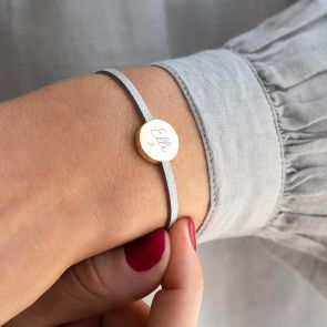 Grey Suede Bracelet with Gold Plated Disc Charm Personalised with name and Illustration