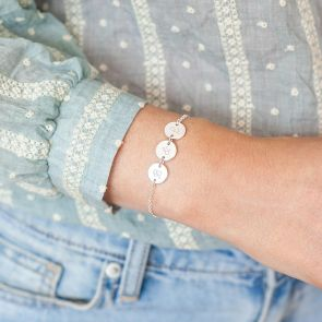 Triple Initial Disc Personalised Bracelet