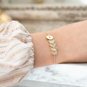slide on birth flower sterling silver bracelet