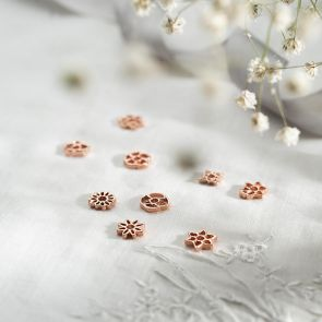 Sterling Silver Sliding Birth Flower Charms Available in Silver or Rose Gold