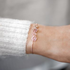 slide on birth flower sterling silver bracelet