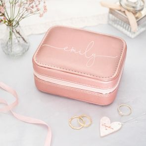Small Personalised Jewellery Box in Pink