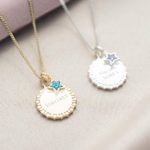 Star Edge Disc and Star Family Birthstone Personalised Necklace